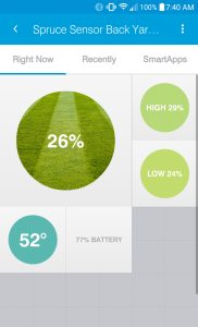 The Sensor Summary screen in the SmartThings App