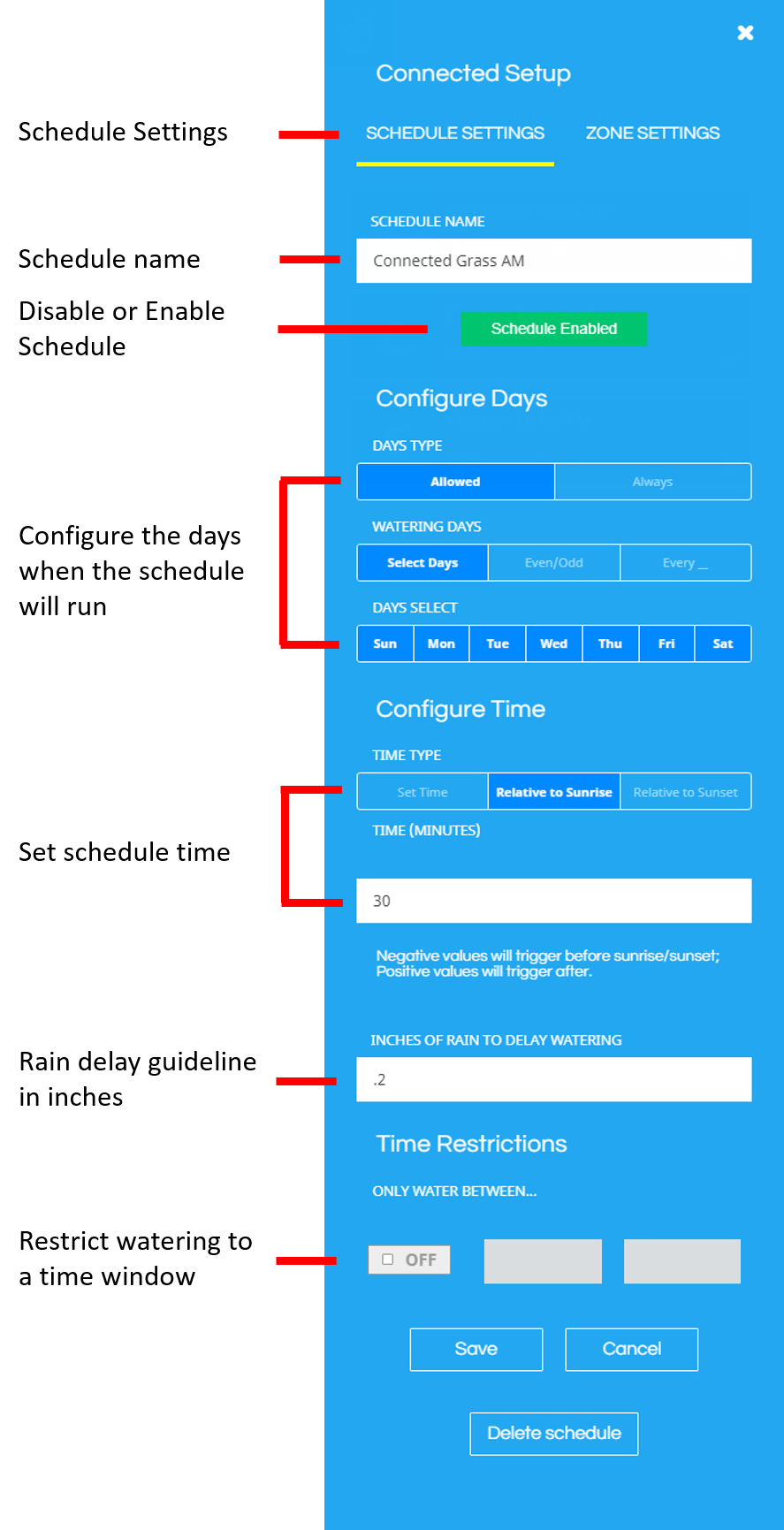 Connected Schedule Settings